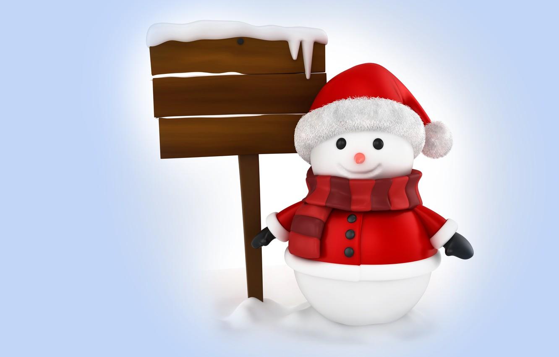 Photo wallpaper winter, rendering, holiday, New year, snowman, children's