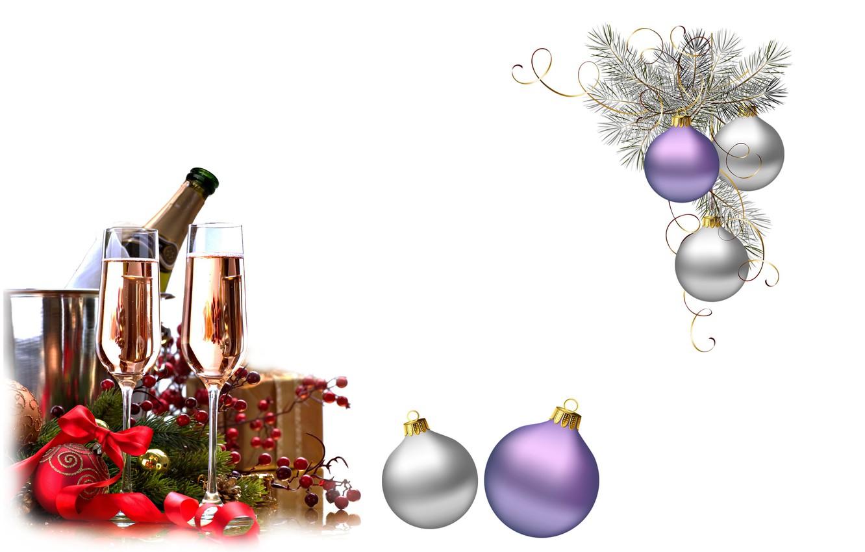 Photo wallpaper holiday, balls, new year, art, champagne