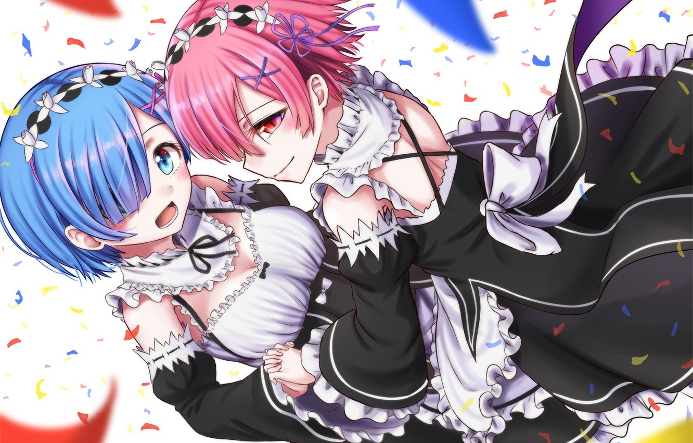 Wallpaper Girls Confetti Anime Art Sisters Ram Rem Re