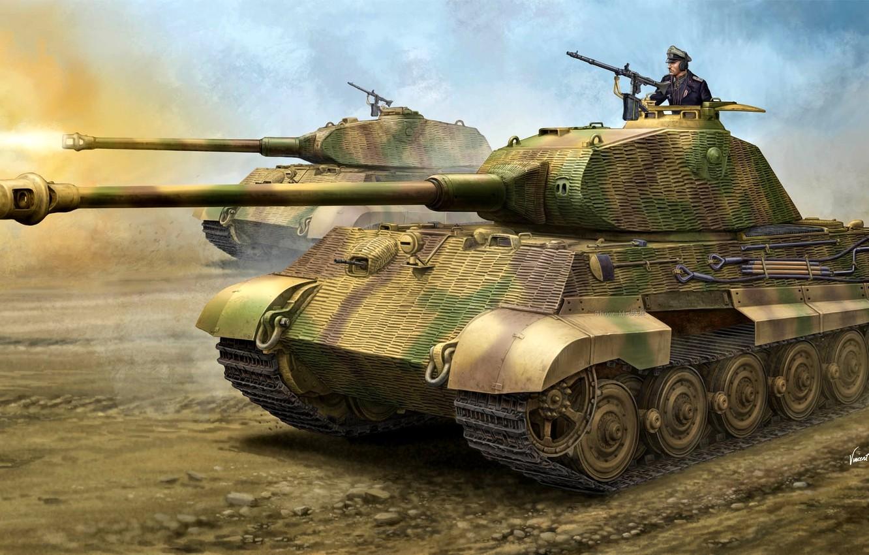 Photo wallpaper figure, Germany, tank, Tiger II, Heavy, WW2, The Wehrmacht, Panzerkampfwagen VI Ausf. B, King Tiger, …