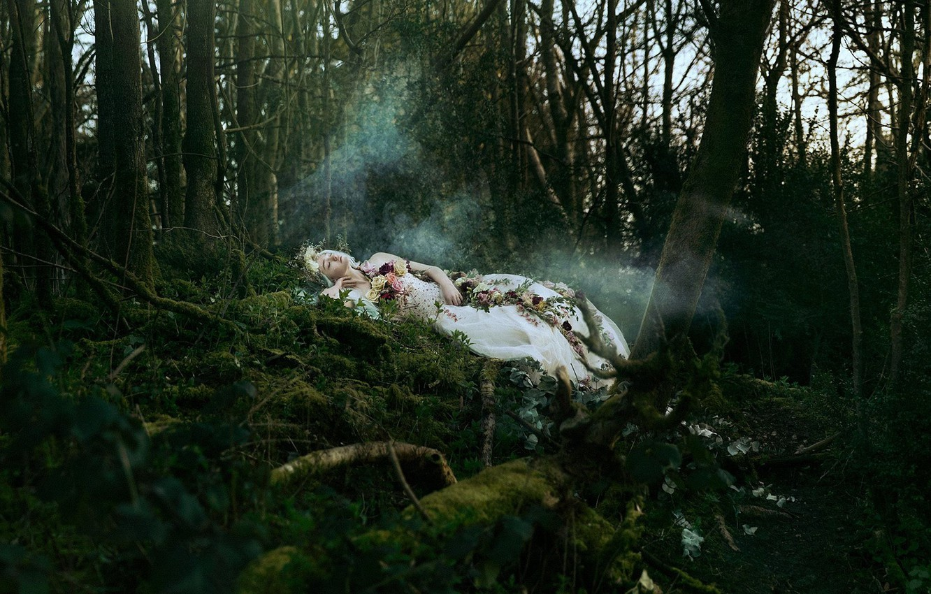 Photo wallpaper forest, girl, flowers, the situation, sleeping, Bella Kotak, A silent song