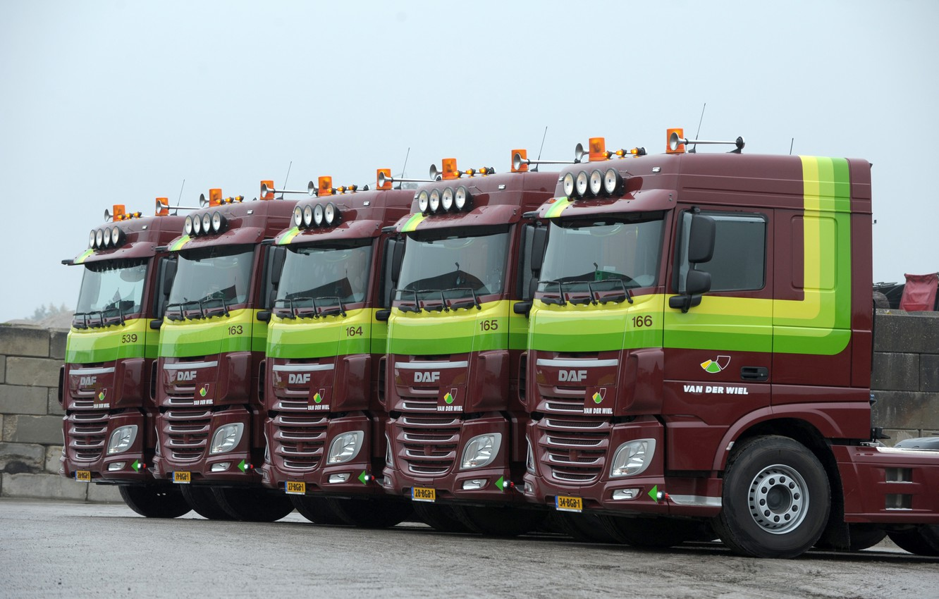 Photo wallpaper Parking, brown, DAF, DAF, tractors, the hinged equipment