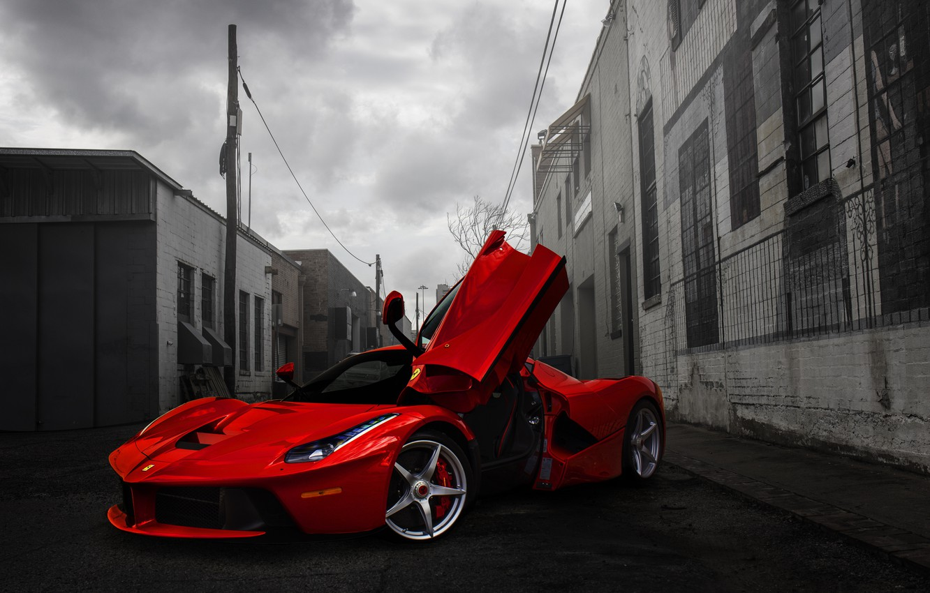 Photo wallpaper Red, Ferrari, Ferrari, Red, Supercar, Lane, LaFerrari