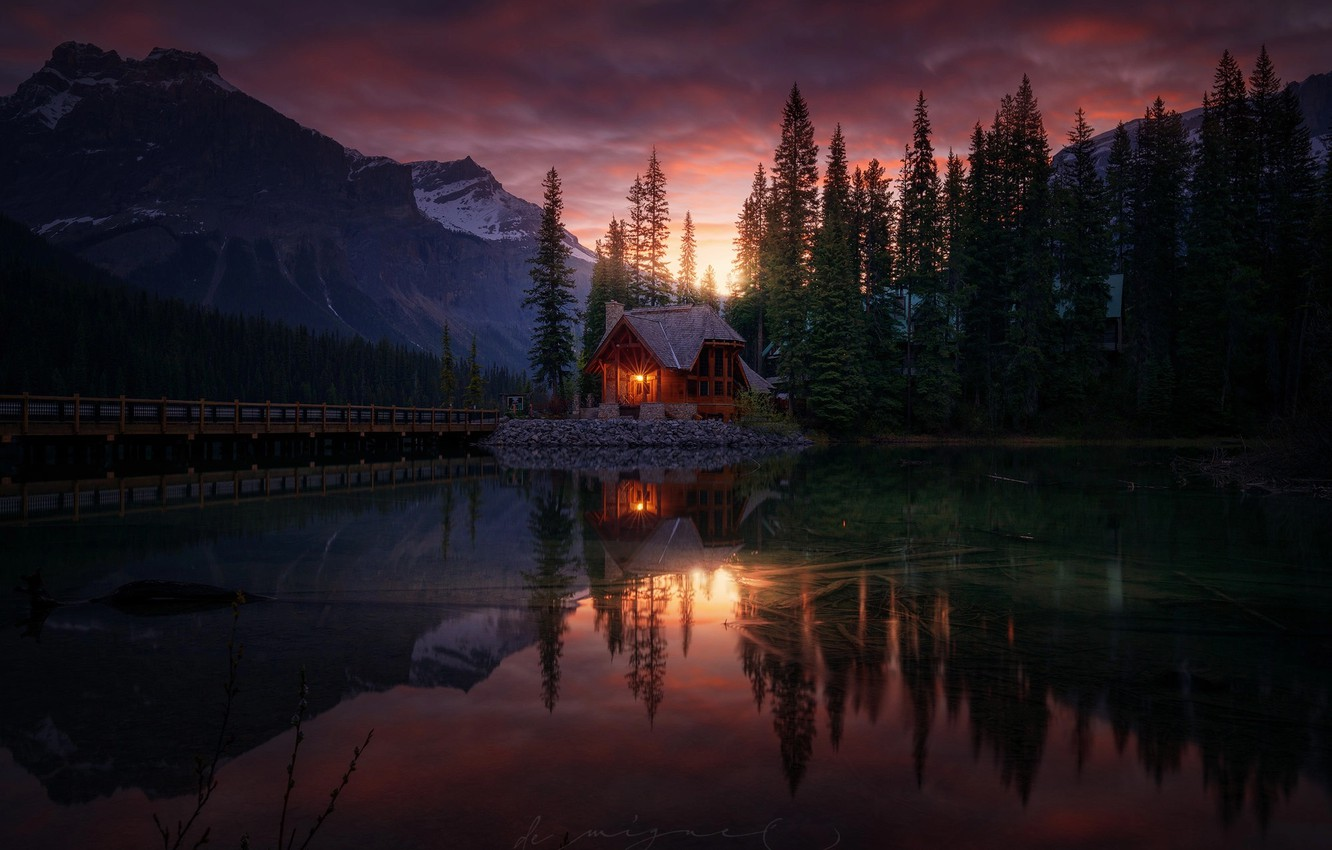 Photo wallpaper forest, water, reflection, mountains, nature, lake, the evening, house