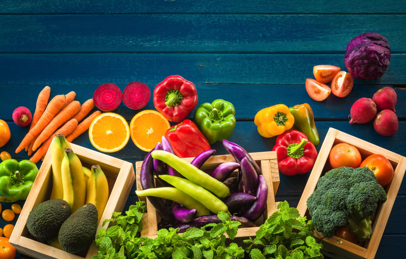 Wallpaper greens, fruit, vegetables, fruits, cuts ...