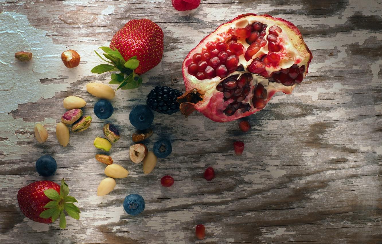 Photo wallpaper berries, blueberries, strawberry, fruit, nuts, wood, garnet