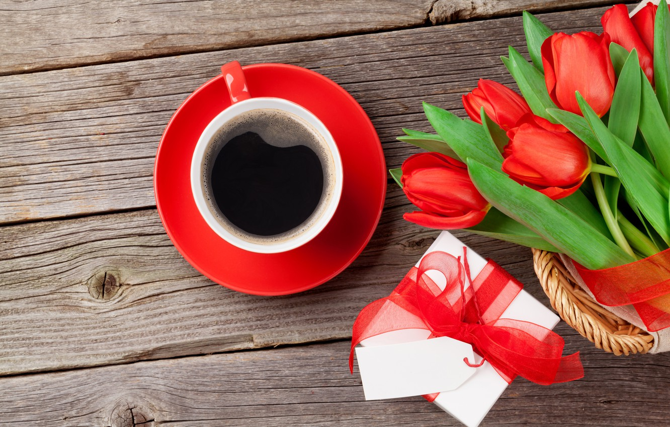Photo wallpaper love, flowers, gift, coffee, bouquet, Cup, tulips, red, love, cup, romantic, tulips, Valentine's Day, gift, …