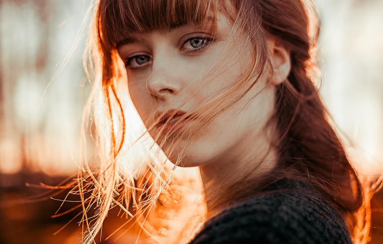 Photo wallpaper look, the beauty, redhead, curls