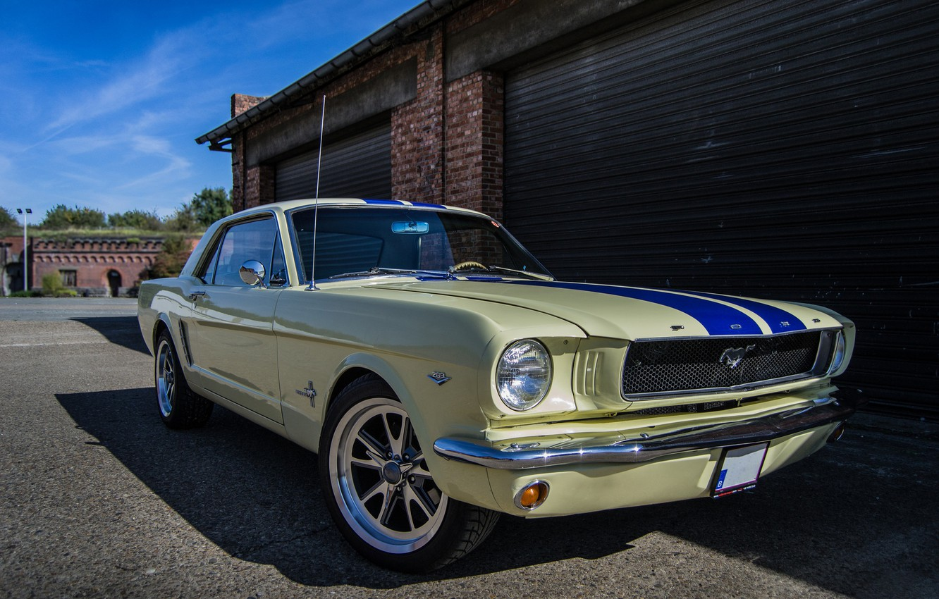 Photo wallpaper Mustang, Ford, Blue, Strips
