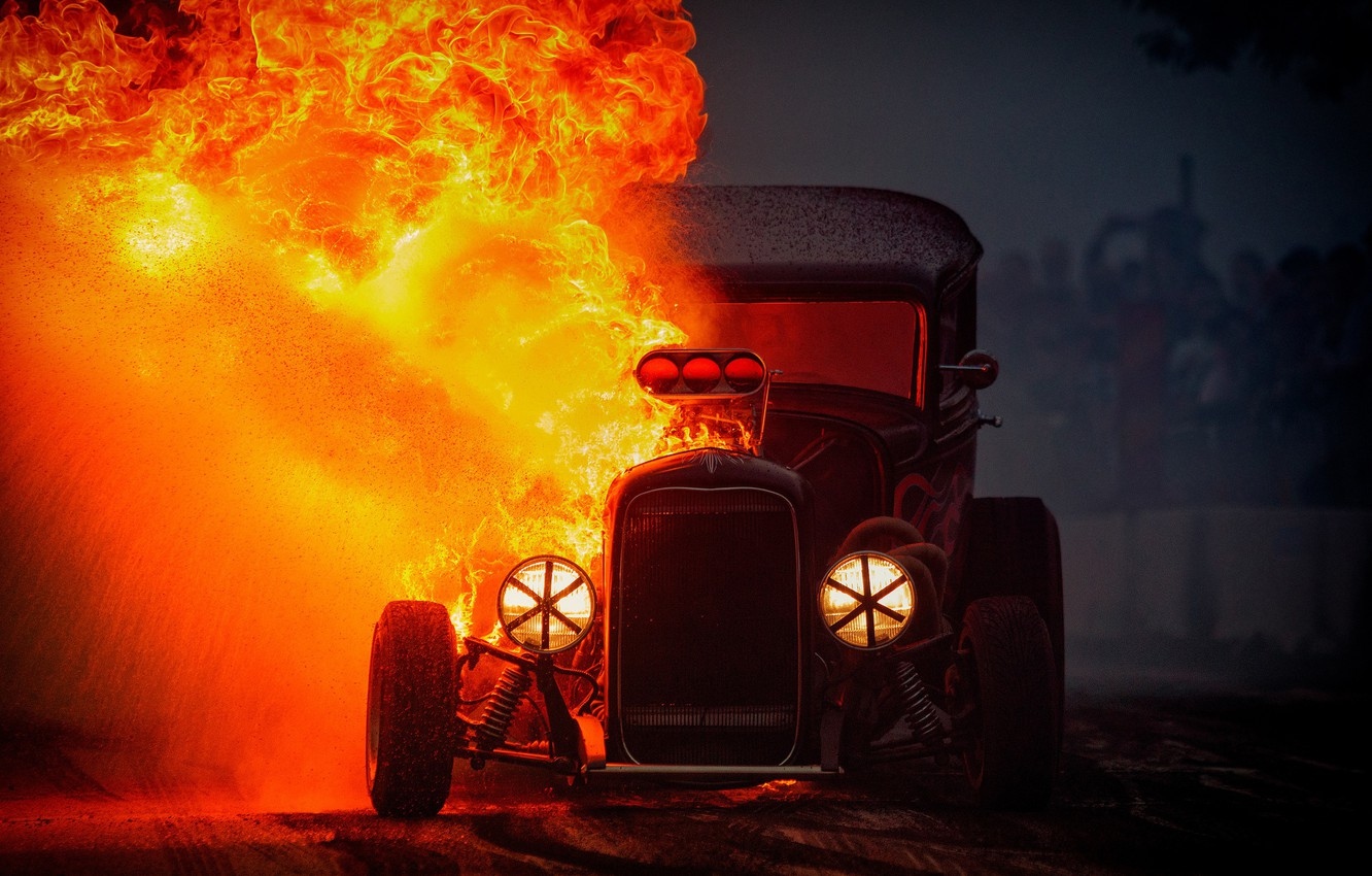 Photo wallpaper fire, flame, Hot Rod