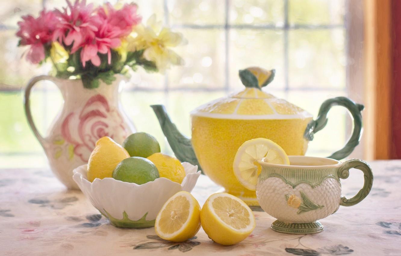 Photo wallpaper flowers, lemon, tea, bouquet, kettle, Cup, lime, citrus