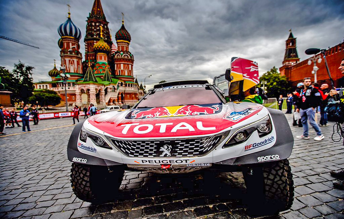 Photo wallpaper The city, Sport, Moscow, Peugeot, St. Basil's Cathedral, Red square, Rally, Rally, Start, Overcast, DKR, …