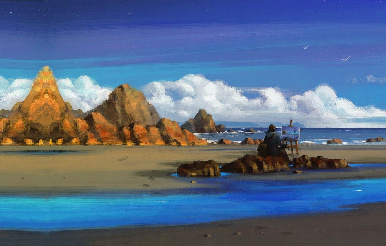 Photo wallpaper the ocean, shore, seagulls, art, artist, Seaside, Sephiroth Art, plein air