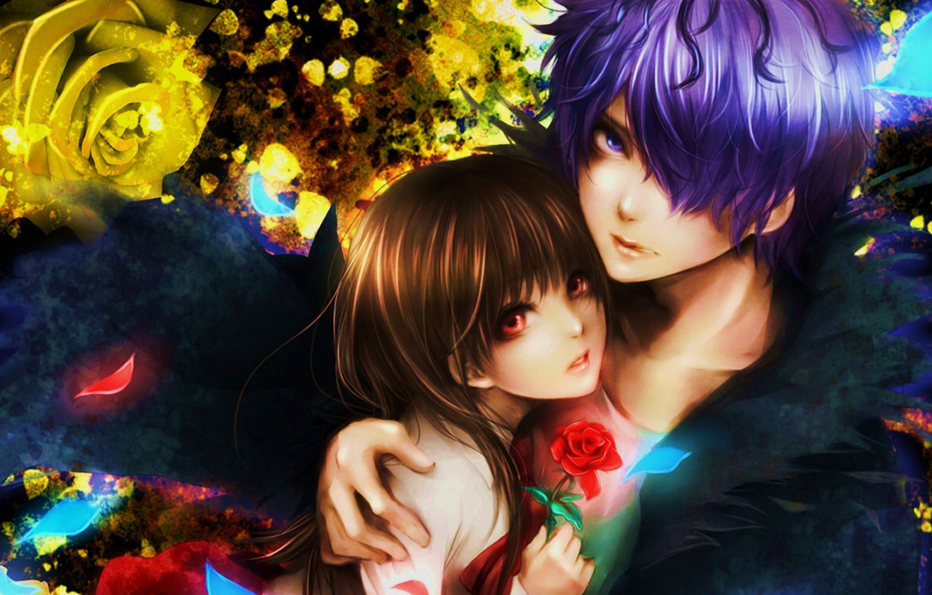 Photo wallpaper look, hugs, two, red eyes, Golden rose, Garry, Mary, scarlet rose, the guy with the …