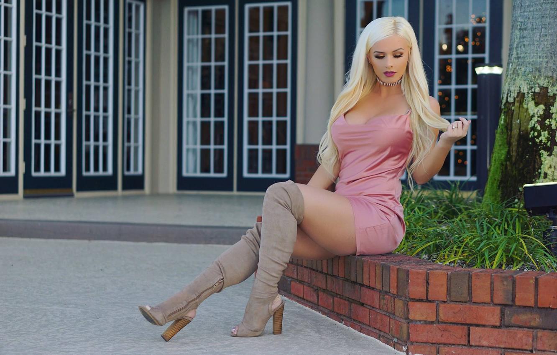 Photo wallpaper summer, boots, dress, blonde, legs, beauty, Aida Ridic