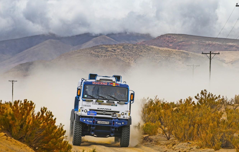 Photo wallpaper Sand, Grass, Sport, Speed, Race, Master, Dirt, Hills, Squirt, Russia, Kamaz, Rally, Dakar, Dakar, Rally, …