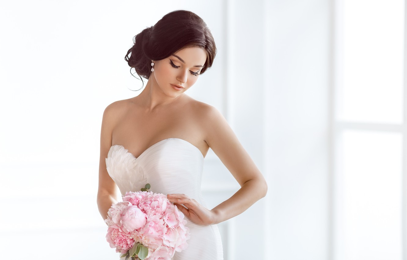 Photo wallpaper girl, bouquet, makeup, dress, hairstyle, the bride, in white