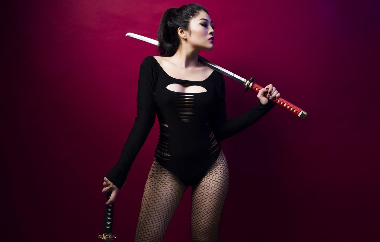 Photo wallpaper girl, background, sword