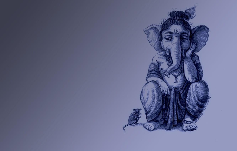Photo wallpaper sadness, elephant, mouse, Ganesh, cool background
