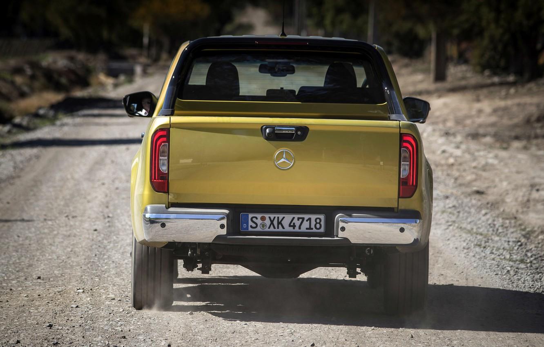 Photo wallpaper yellow, Mercedes-Benz, dust, body, rear view, pickup, primer, 2017, X-Class