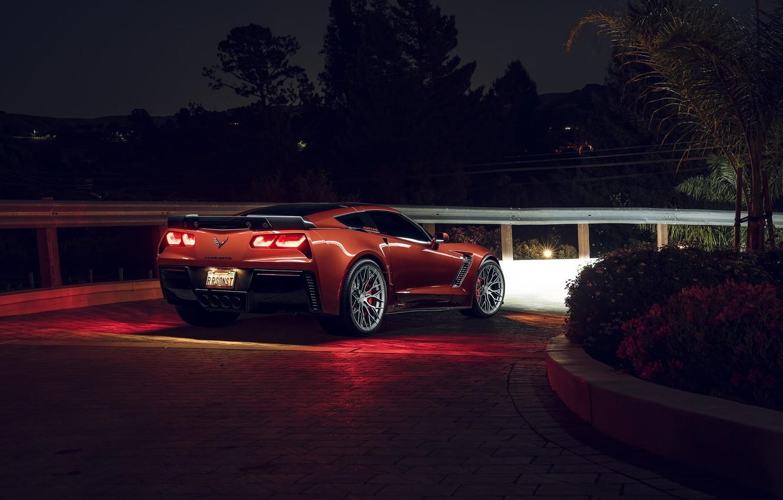 Photo wallpaper Z06, Corvette, Chevrolet, Rear, KARTUNZ