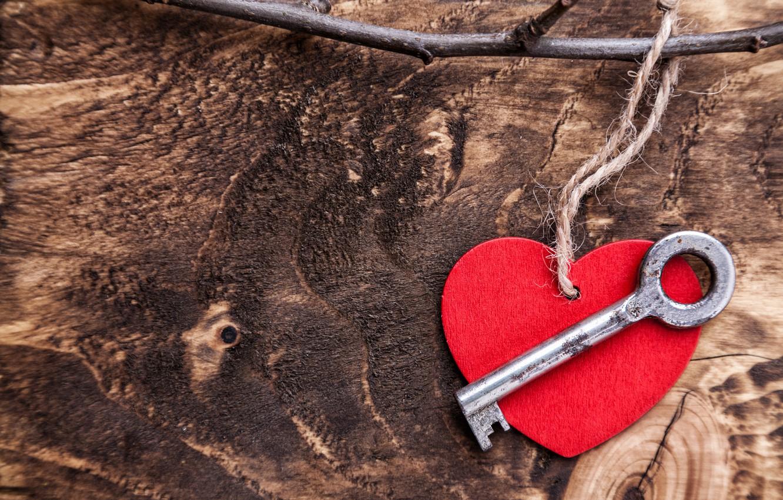 Photo wallpaper love, romance, heart, key, red, love, heart, wood, key, romantic