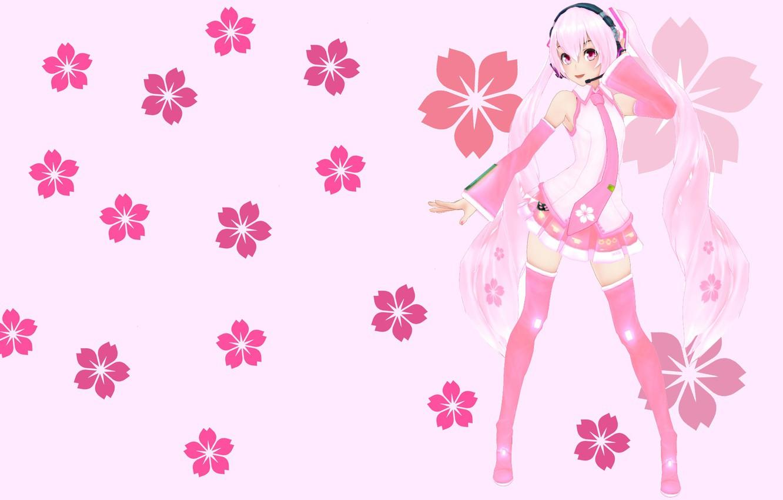 Photo wallpaper flowers, anime, art, girl, Vocaloid, Miku, KasokuSato Sakura Miku