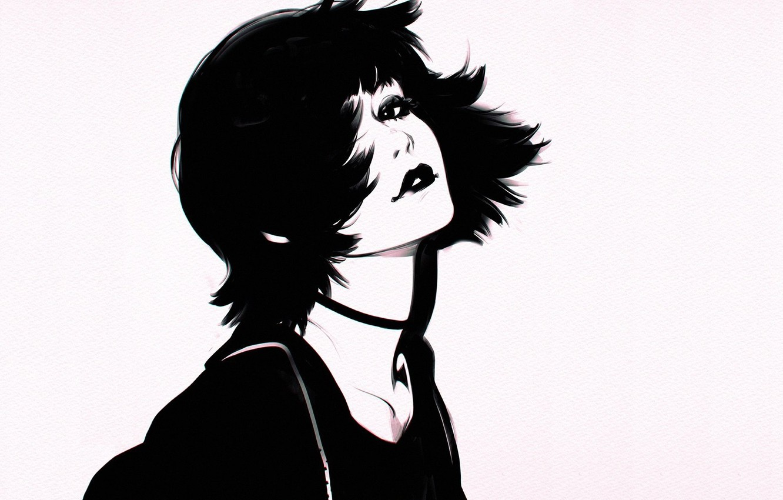 Photo wallpaper haircut, black and white, lips, grey background, neck, bangs, portrait of a girl, Ilya Kuvshinov