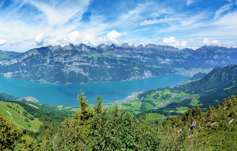 Photo wallpaper mountains, Switzerland, Switzerland, multi monitors, ultra HD, Runner mountain, Näfels