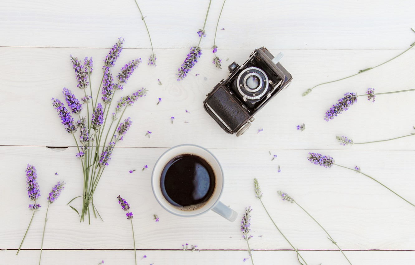 Photo wallpaper coffee, bouquet, Cup, wood, flowers, lavender, cup, coffee, lavender