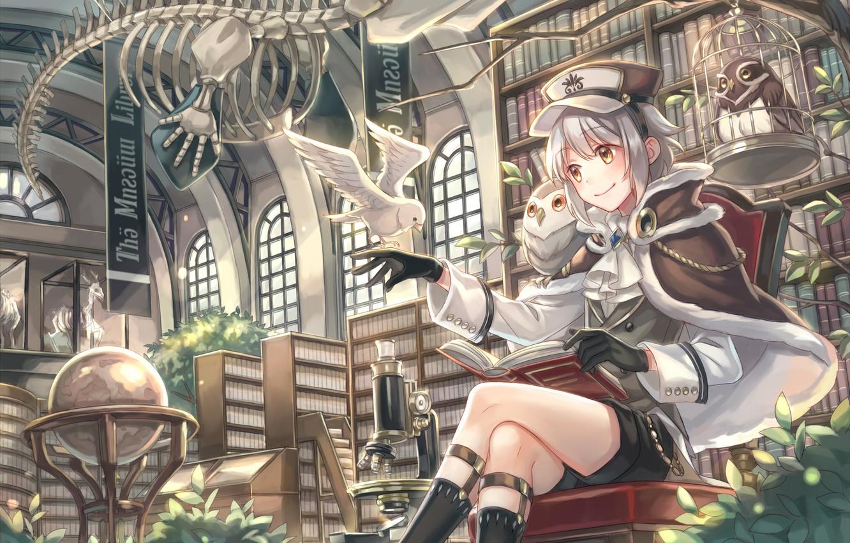 Photo wallpaper owl, art, skeleton, girl, library