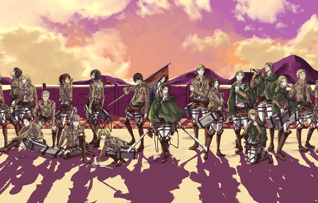 Wallpaper The Sky Wall Shadow Boots Emblem Swords Military Uniform Banner Pink Clouds Mikasa Ackerman The Invasion Of The Titans Eren Yeager Sasha Blouse Armin Arlert Levi Ackerman Connie Springer Images For