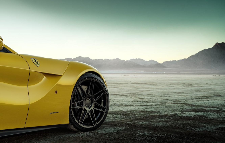 Photo wallpaper design, desert, wheel, disk, yellow, The Ferrari F12