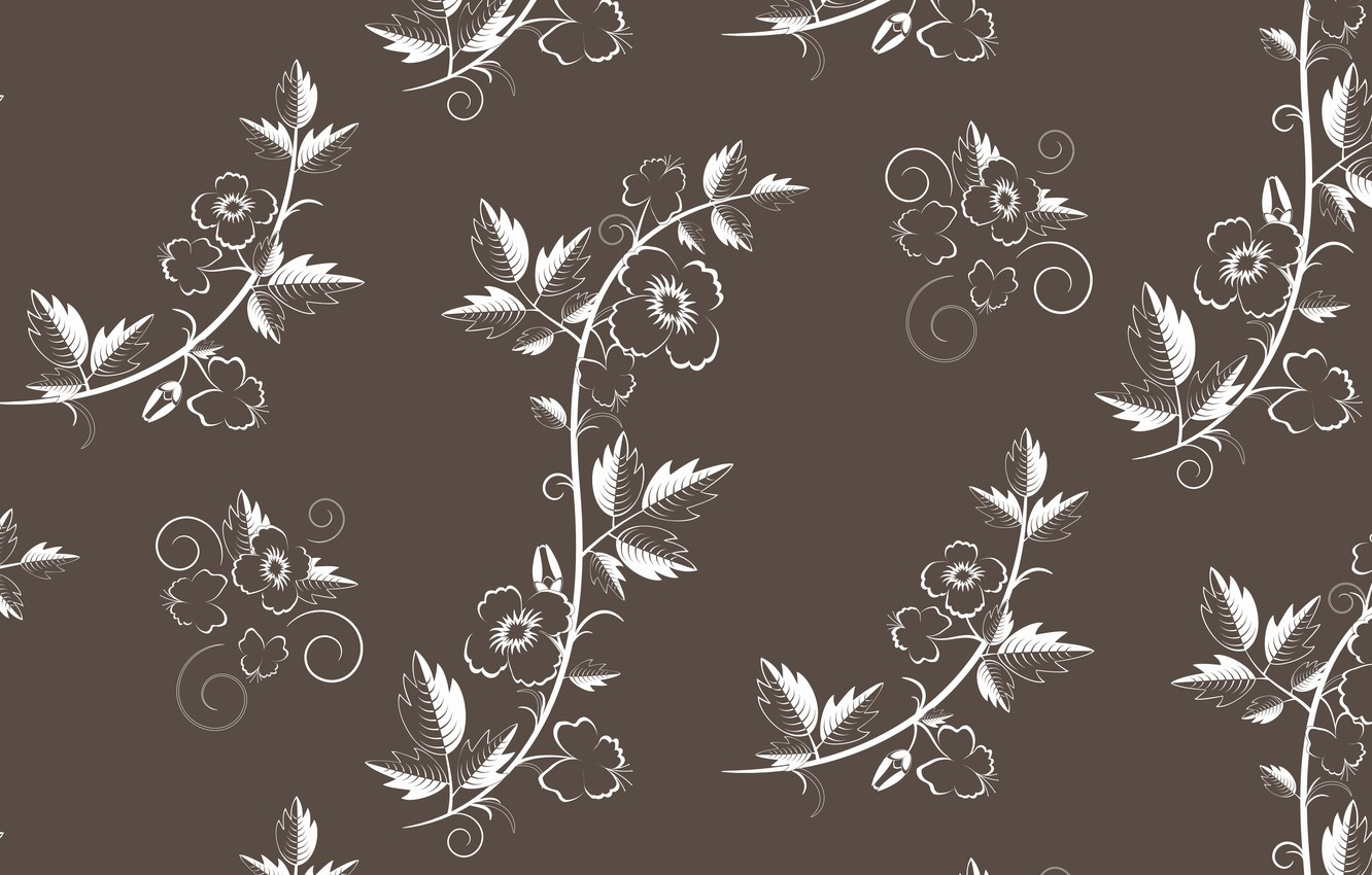 Wallpaper Vector Texture Retro With Flowers Pattern Floral
