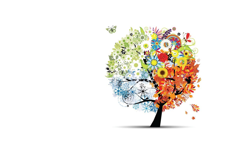 Photo wallpaper tree, seasons, vector, art, children's