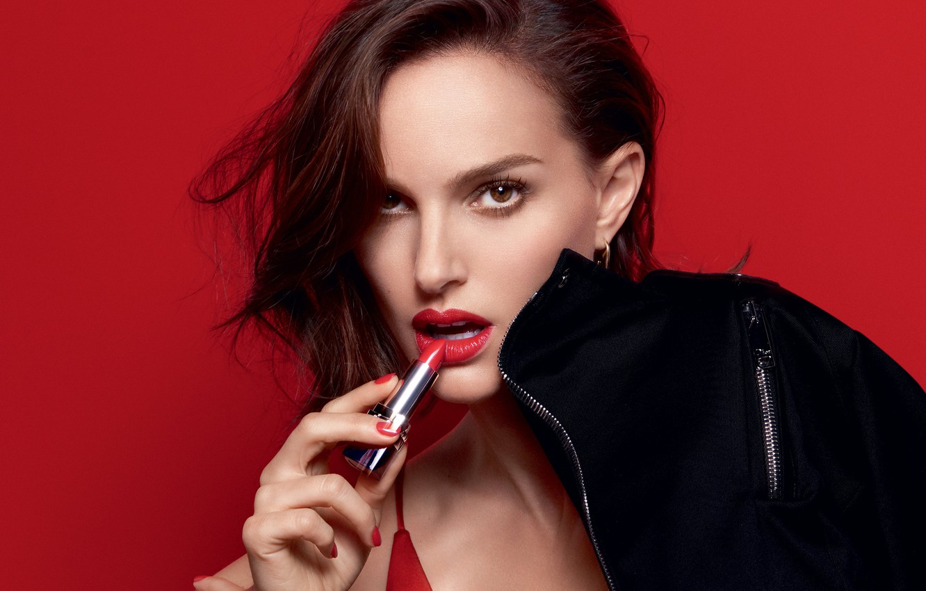 Photo wallpaper look, red, face, background, model, portrait, makeup, advertising, actress, lipstick, brunette, jacket, hairstyle, lips, Natalie …