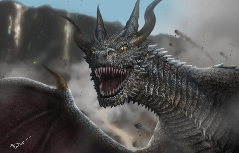 Photo wallpaper look, dragon, wings, fangs, horns, monster