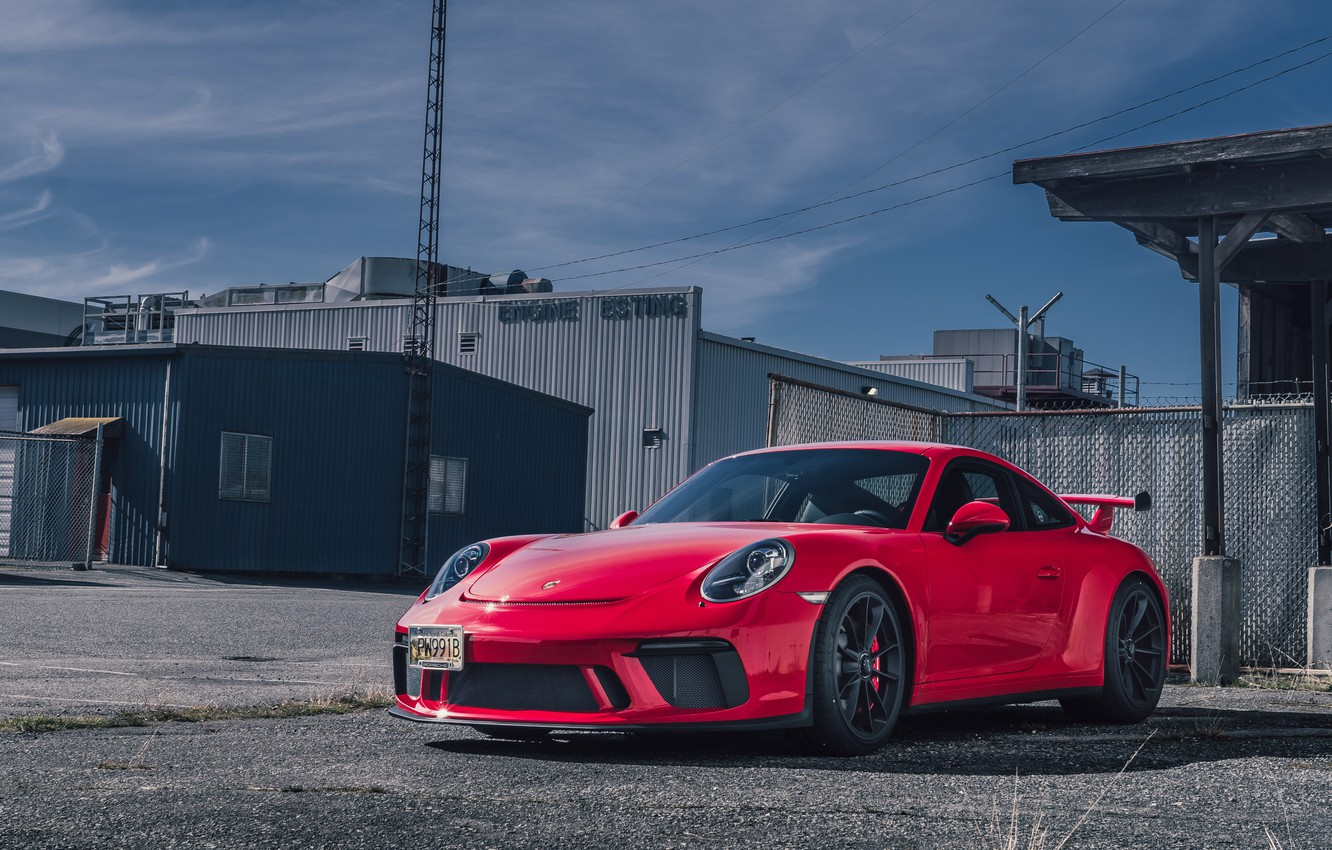 Photo wallpaper Porsche, red, GT3