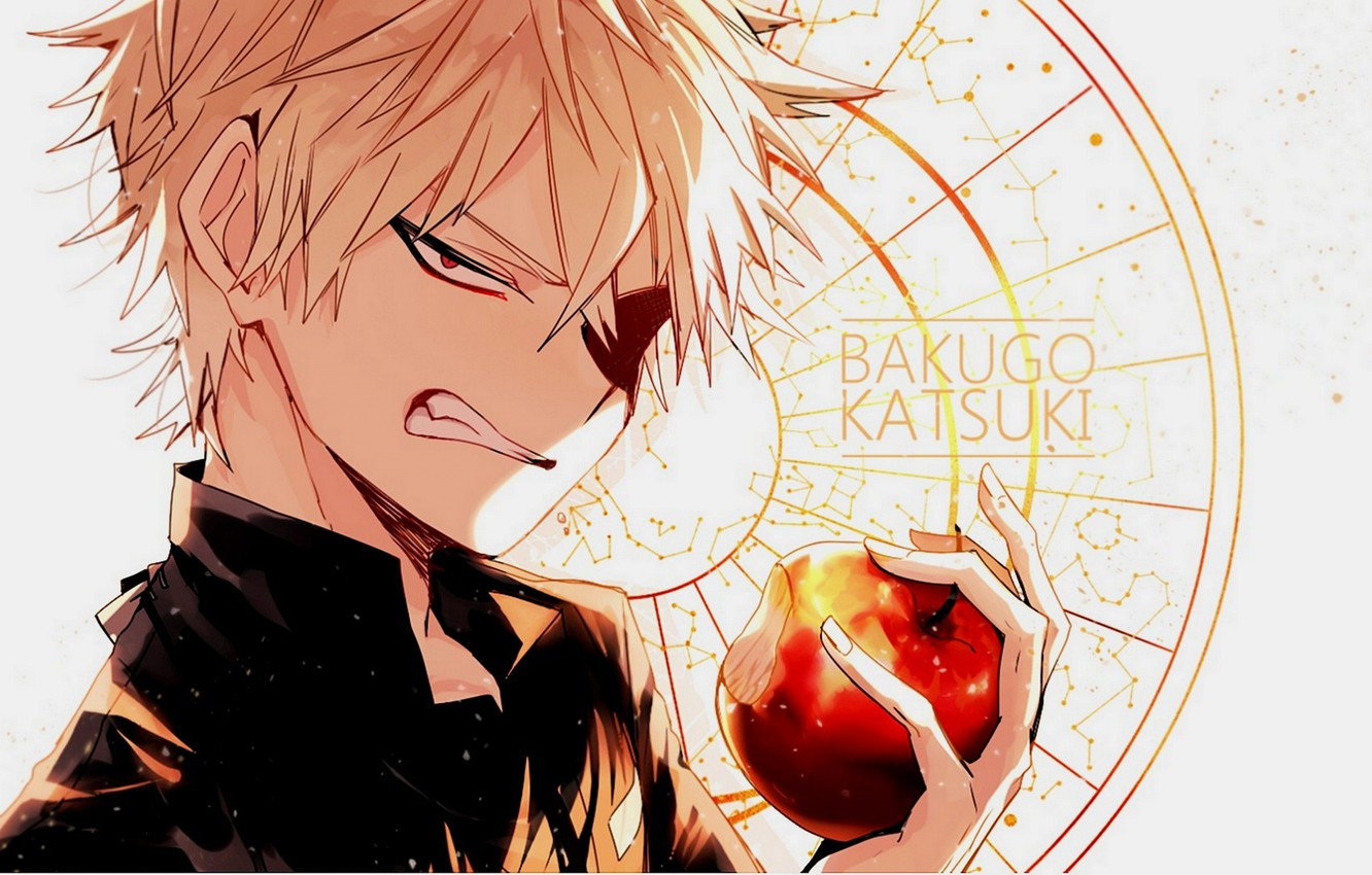 Photo wallpaper look, Apple, anime, art, guy, Boku no Hero Academy, Bakusou Katsuki, My heroic academia