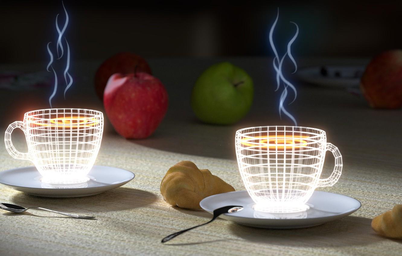 Photo wallpaper apples, neon, Cup, Tea, croissants