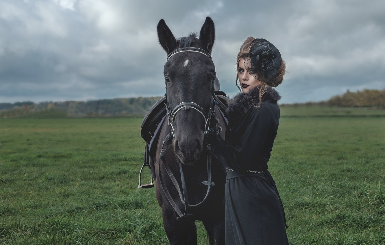 Photo wallpaper girl, horse, hat, lady