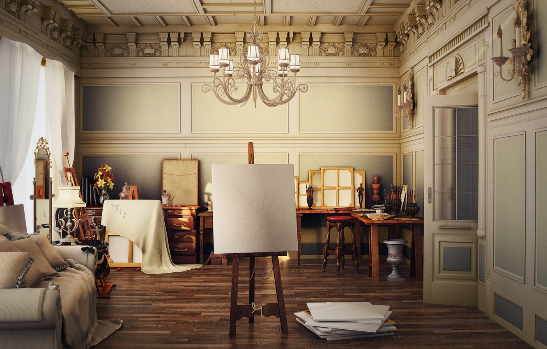 Photo wallpaper room, furniture, chair, art, chandelier, wide, hall, studio, art, old, Studio, room, nice, table, main, …
