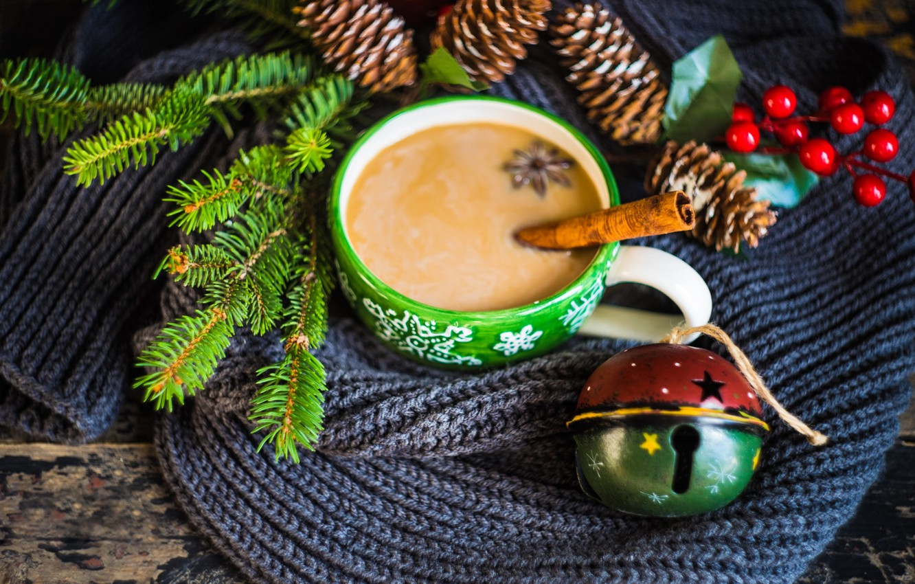 Photo wallpaper winter, branches, berries, holiday, Board, new year, Christmas, spruce, scarf, mug, drink, bumps, bell