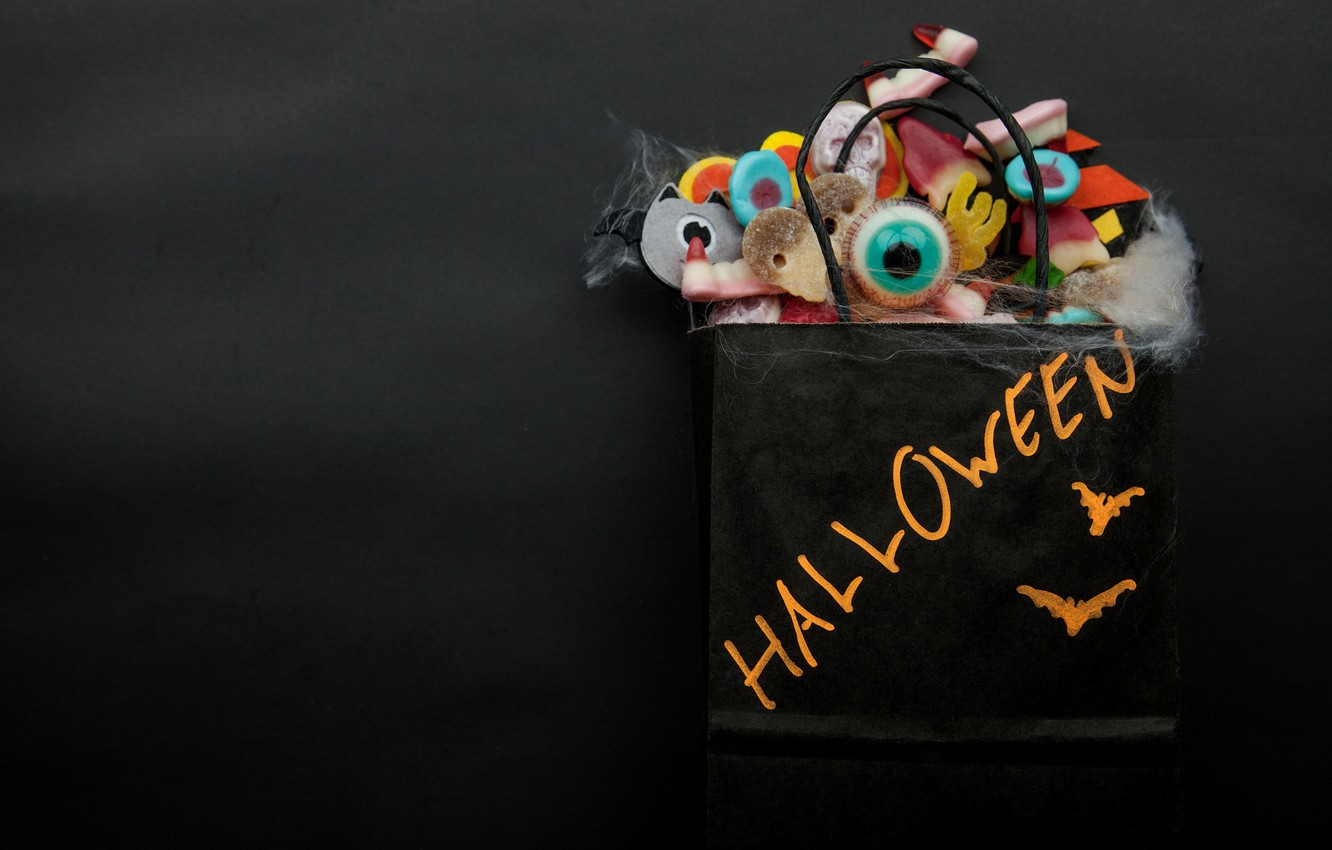 Photo wallpaper eyes, the dark background, holiday, the inscription, Halloween, mouse