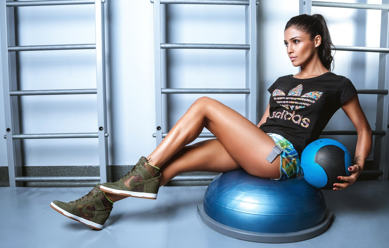 Photo wallpaper girl, the ball, brunette, singer, pose, Santa Dimopoulos, Santa Dimopulos, workout, fitness, gym, crossfit, training …