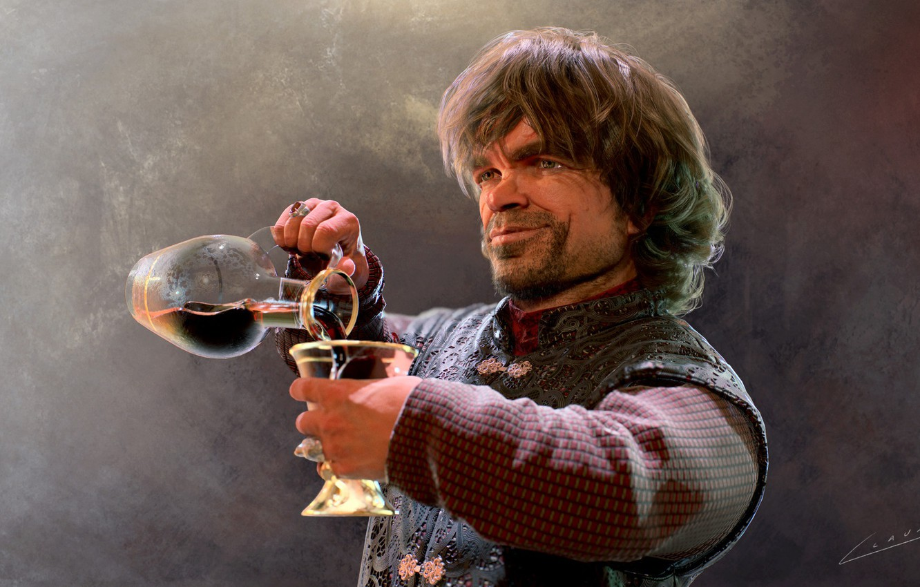 Photo wallpaper movie, wine, the game, glass, portrait, fantasy, art, game of thrones, Tyrion Lannister, Peter Dinklage, …