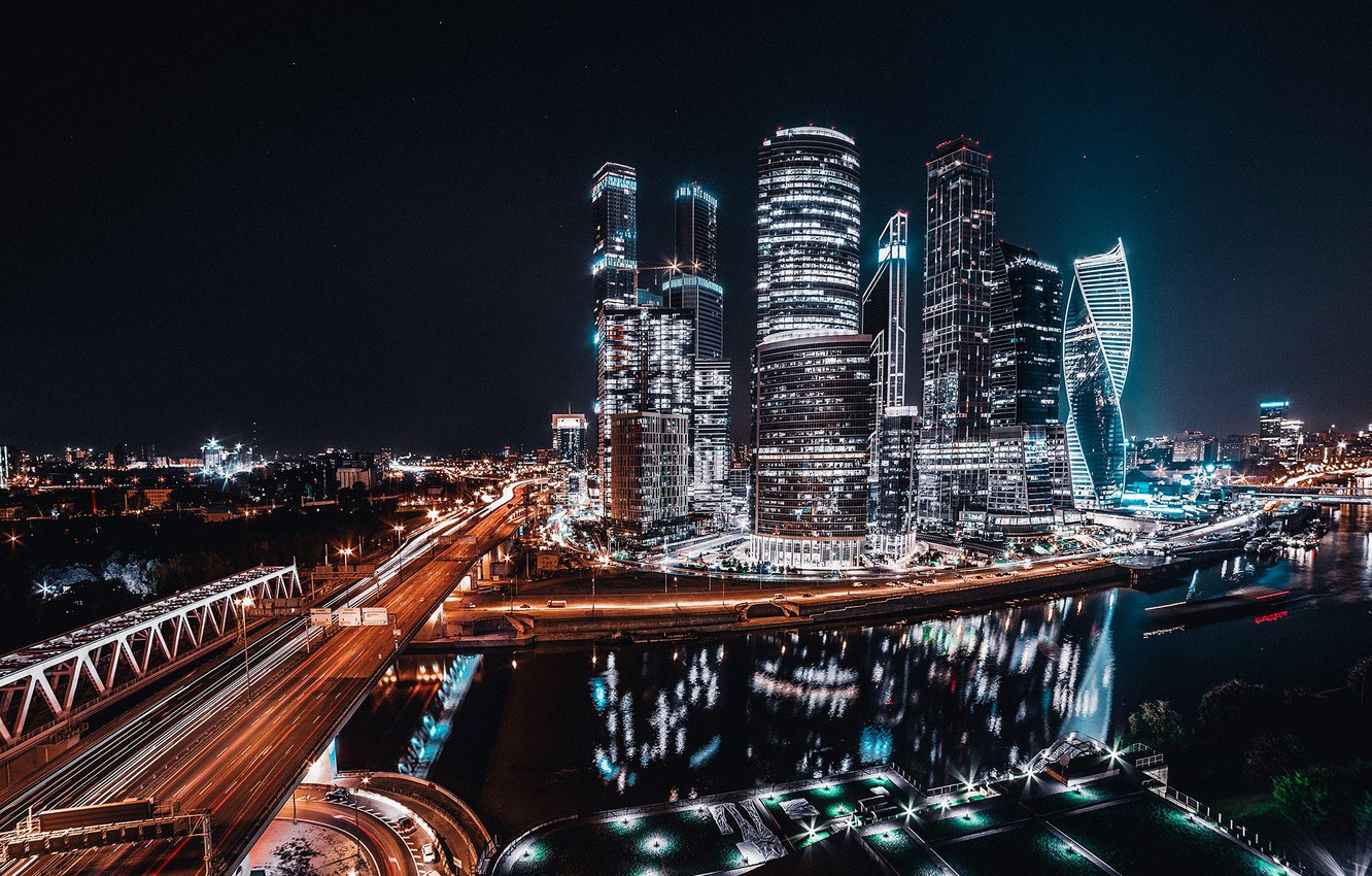 Photo wallpaper light, night, the city, lights, road, Moscow, Russia, Moscow City