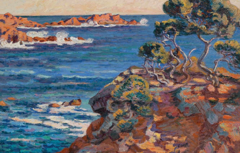 Photo wallpaper sea, landscape, rocks, picture, Arman Hyomin, Armand Guillaumin, The sea Coast at Agay