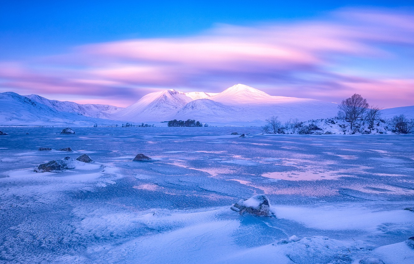 Photo wallpaper winter, clouds, snow, trees, mountains, stones, ice, plain, Scotland, swamp, Rannoch Moor