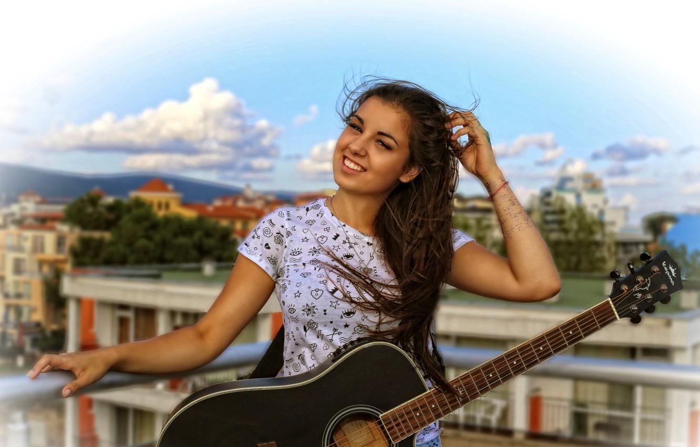 Photo wallpaper hair, guitar, Alice, guitar, beautiful, smile, Alice, sweet, hair, Kide Fotoart